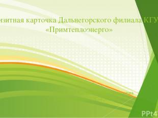 Визитная карточка Дальнегорского филиала КГУП «Примтеплоэнерго» Разработала Руст