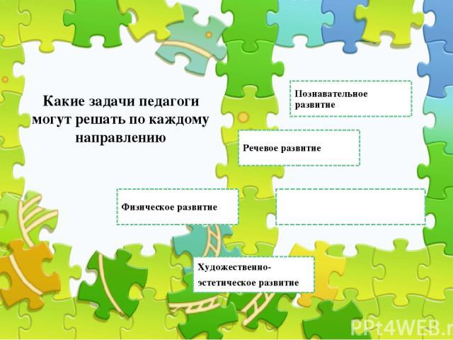 Познавательное развитие Социально-коммуникативное развитие Речевое развитие Какие задачи педагоги могут решать по каждому направлению Художественно- эстетическое развитие Физическое развитие Правильный ответ Неправильный ответ Неправильный ответ
