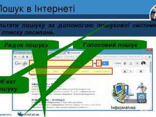 Пошук в Інтернеті Результати пошуку за допомогою пошукової системи мають вигляд