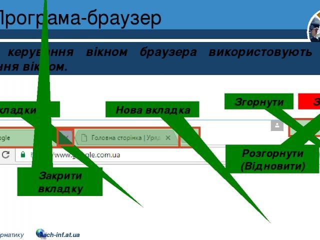 Програма-браузер Розділ 2 § 8 Для керування вікном браузера використовують кнопки керування вікном. Вкладки Нова вкладка Згорнути Розгорнути (Відновити) Закрити Закрити вкладку 5 © Вивчаємо інформатику teach-inf.at.ua