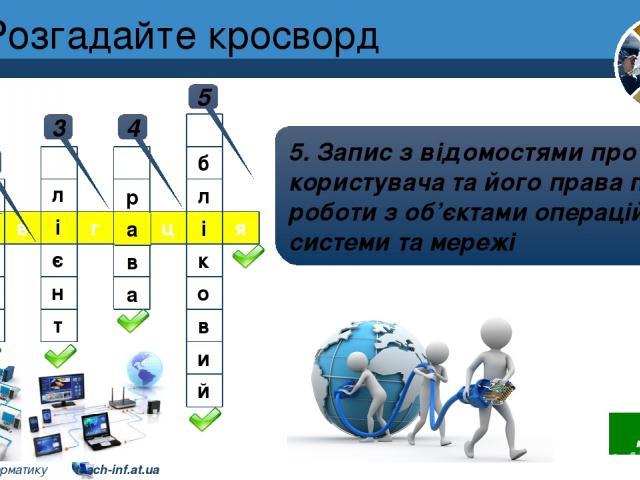 Розгадайте кросворд Розділ 2 § 8 1 1. Перегляд умісту об'єктів операційної системи, що розміщені на комп'ютерах локальної мережі 2 2. Звертання клієнтських комп'ютерів до серверів у процесі мережної взаємодії 3 3. Комп'ютер у мережі, що використовує…