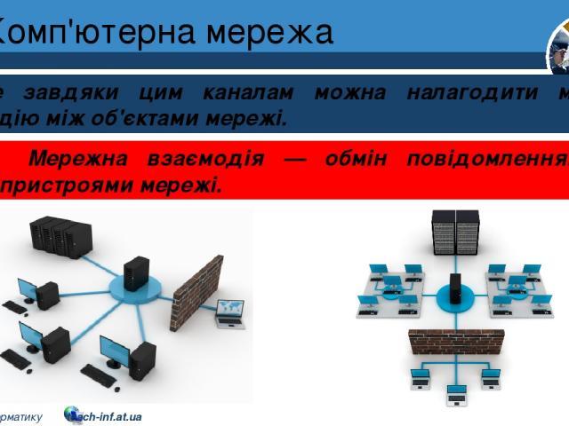 Комп'ютерна мережа Розділ 1 § 7 Саме завдяки цим каналам можна налагодити мережну взаємодію між об'єктами мережі. Мережна взаємодія — обмін повідомленнями між пристроями мережі. 5 © Вивчаємо інформатику teach-inf.at.ua