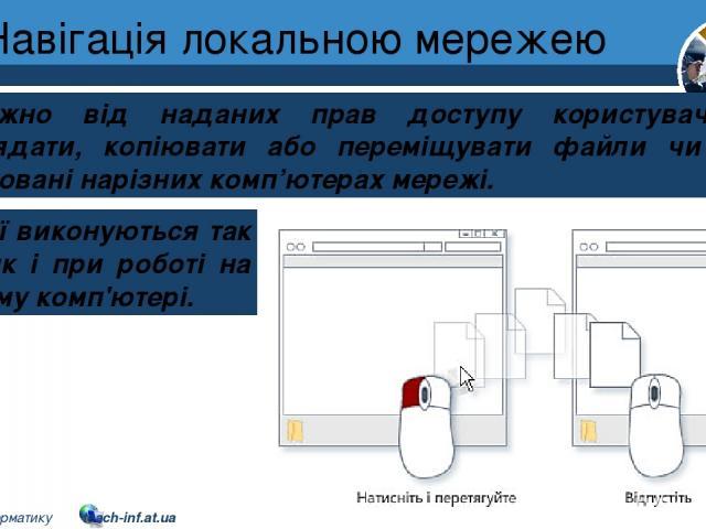 Навігація локальною мережею Розділ 1 § 7 Залежно від наданих прав доступу користувач може переглядати, копіювати або переміщувати файли чи папки, розташовані нарізних комп'ютерах мережі. Ці дії виконуються так само, як і при роботі на власному комп'…