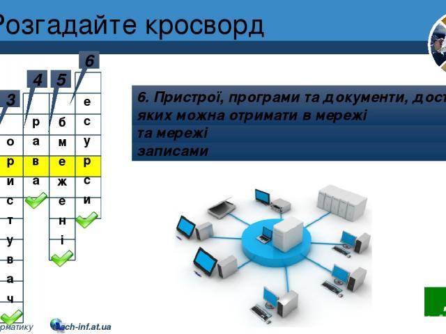 Розгадайте кросворд Розділ 1 § 3 1 Робота з комп'ютером з обліковим записом користувача 2 2. Сукупність комп'ютерів та інших пристроїв, з'єднання каналами передавання даних 3 3. Людина, що працює з комп'ютером 4 4. Можуть відрізнятися в користувачів…