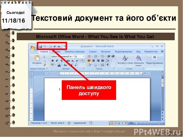Сьогодні http://vsimppt.com.ua/ http://vsimppt.com.ua/ Microsoft Office Word - What You See Is What You Get Панель швидкого доступу Текстовий документ та його об'єкти