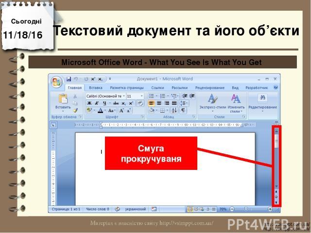 Сьогодні http://vsimppt.com.ua/ http://vsimppt.com.ua/ Microsoft Office Word - What You See Is What You Get Смуга прокручуваня Текстовий документ та його об'єкти