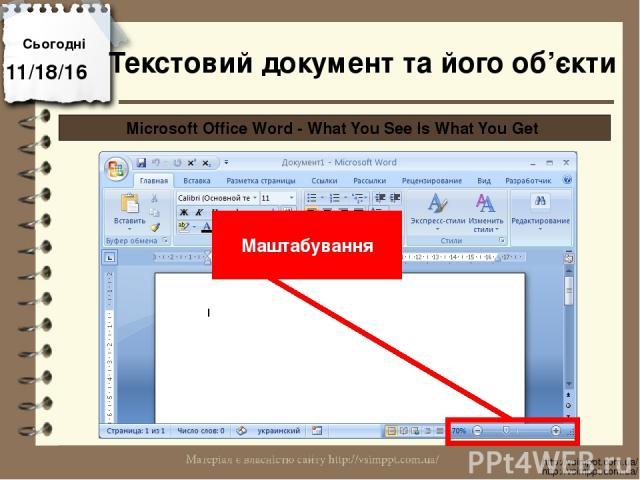 Сьогодні http://vsimppt.com.ua/ http://vsimppt.com.ua/ Microsoft Office Word - What You See Is What You Get Маштабування Текстовий документ та його об'єкти