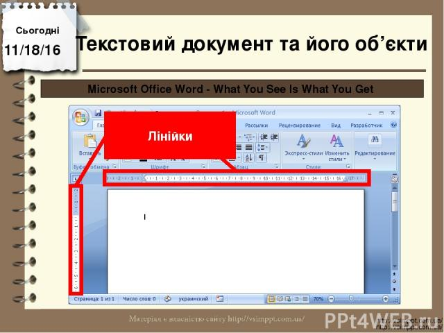 Сьогодні http://vsimppt.com.ua/ http://vsimppt.com.ua/ Microsoft Office Word - What You See Is What You Get Лінійки Текстовий документ та його об'єкти