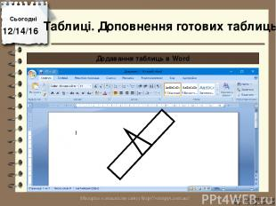 Сьогодні http://vsimppt.com.ua/ http://vsimppt.com.ua/ Додавання таблиць в Word