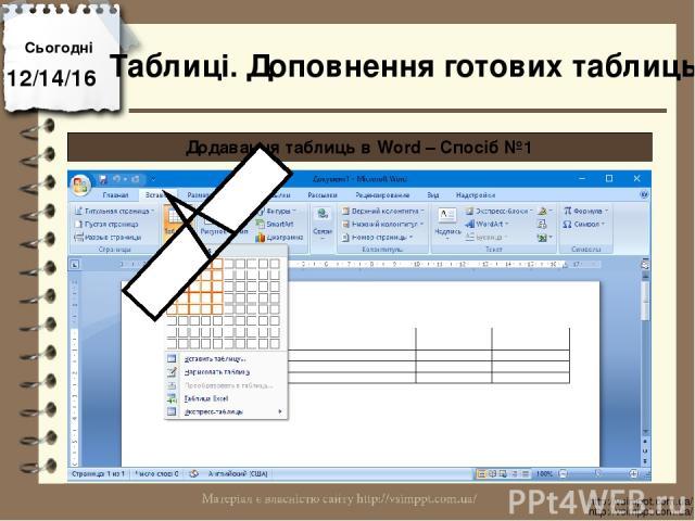 Сьогодні http://vsimppt.com.ua/ http://vsimppt.com.ua/ Таблиці. Доповнення готових таблиць Додавання таблиць в Word – Спосіб №1