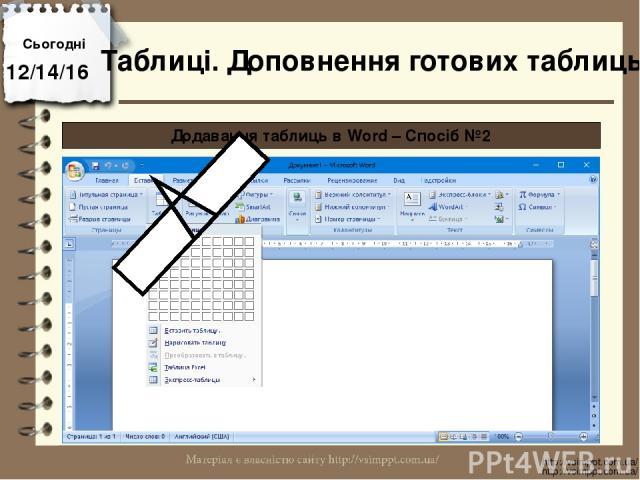 Сьогодні http://vsimppt.com.ua/ http://vsimppt.com.ua/ Таблиці. Доповнення готових таблиць Додавання таблиць в Word – Спосіб №2