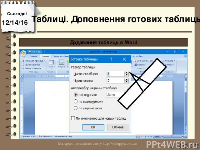 Сьогодні http://vsimppt.com.ua/ http://vsimppt.com.ua/ Таблиці. Доповнення готових таблиць Додавання таблиць в Word