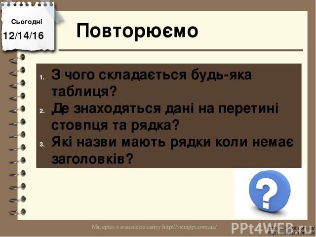 Повторюємо Сьогодні http://vsimppt.com.ua/ http://vsimppt.com.ua/ З чого складається будь-яка таблиця? Де знаходяться дані на перетині стовпця та рядка? Які назви мають рядки коли немає заголовків?