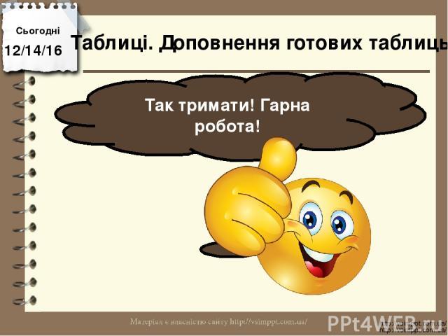 Сьогодні Так тримати! Гарна робота! http://vsimppt.com.ua/ http://vsimppt.com.ua/ Таблиці. Доповнення готових таблиць