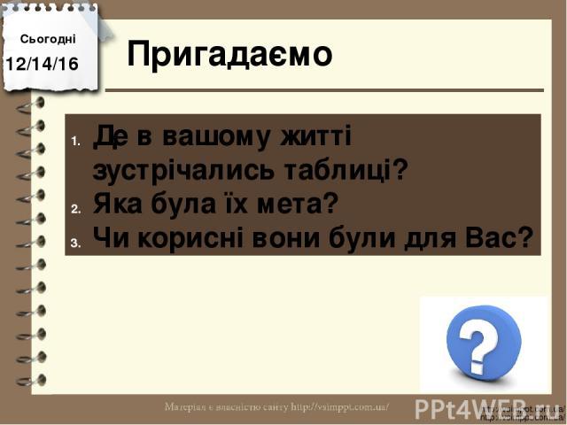 Сьогодні Пригадаємо http://vsimppt.com.ua/ http://vsimppt.com.ua/ Де в вашому житті зустрічались таблиці? Яка була їх мета? Чи корисні вони були для Вас?