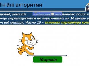 Лінійні алгоритми Розділ 4 § 20 10 кроків Наприклад, команді відповідає подія на