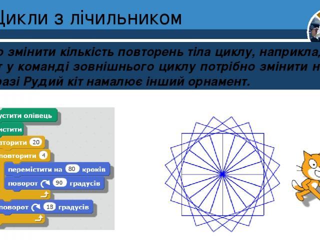 Цикли з лічильником Якщо змінити кількість повторень тіла циклу, наприклад на 20, то й кут у команді зовнішнього циклу потрібно змінити на 180. У цьому разі Рудий кіт намалює інший орнамент. Розділ 4 § 24 5