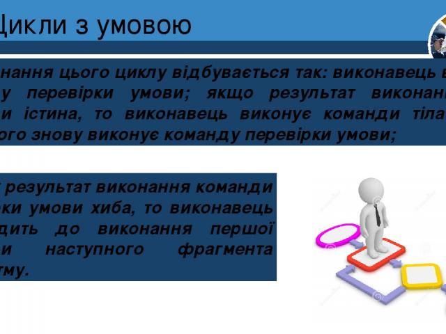 Цикли з умовою Виконання цього циклу відбувається так: виконавець виконує команду перевірки умови; якщо результат виконання цієї команди істина, то виконавець виконує команди тіла циклу, після чого знову виконує команду перевірки умови; Розділ 4 § 2…