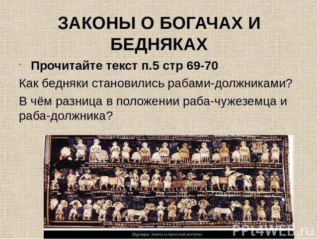 ЗАКОНЫ О БОГАЧАХ И БЕДНЯКАХ Прочитайте текст п.5 стр 69-70 Как бедняки становились рабами-должниками? В чём разница в положении раба-чужеземца и раба-должника?
