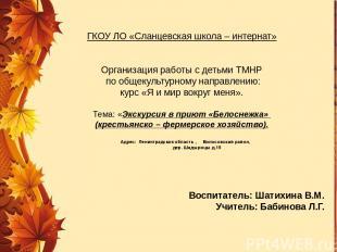 ГКОУ ЛО «Сланцевская школа – интернат» Организация работы с детьми ТМНР по общек