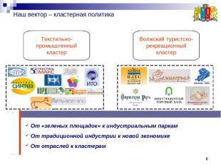 * * Наш вектор – кластерная политика Текстильно- промышленный кластер Волжский т