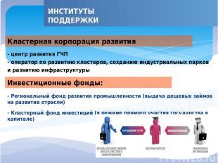 - Региональный фонд развития промышленности (выдача дешевых займов на развитие о