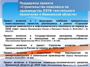 Поддержка проекта «Строительство комплекса по производству ПЭТФ текстильного наз