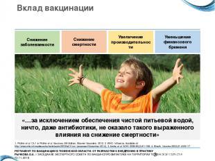 Вклад вакцинации Снижение заболеваемости Снижение смертности Увеличение производ