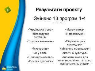 Результати проекту Змінено 13 програм 1-4 класів: 9 «Українська мова» «Математик