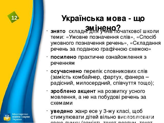 Українська мова - що змінено? знято складні для учнів початкової школи теми: «Умовне позначення слів», «Спосіб умовного позначення речень», «Складання речень за поданою графічною схемою» посилено практичне ознайомлення з реченням осучаснено перелік …