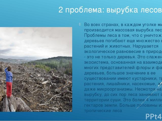 2 проблема: вырубка лесов Во всех странах, в каждом уголке мира производится массовая вырубка лесов. Проблемы леса в том, что с уничтожением деревьев погибают еще множество видов растений и животных. Нарушается экологическое равновесие в природе. Ве…