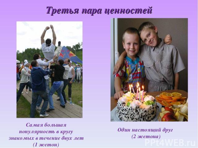 Третья пара ценностей Самая большая популярность в кругу знакомых в течение двух лет (1 жетон) Один настоящий друг (2 жетона)