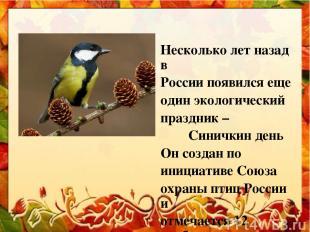 Несколько лет назад в России появился еще один экологический праздник – Синичкин