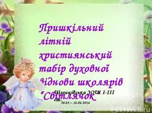"""Пришкільний літній християнський табір духовної віднови школярів """"Світлячок"""" Шег"""