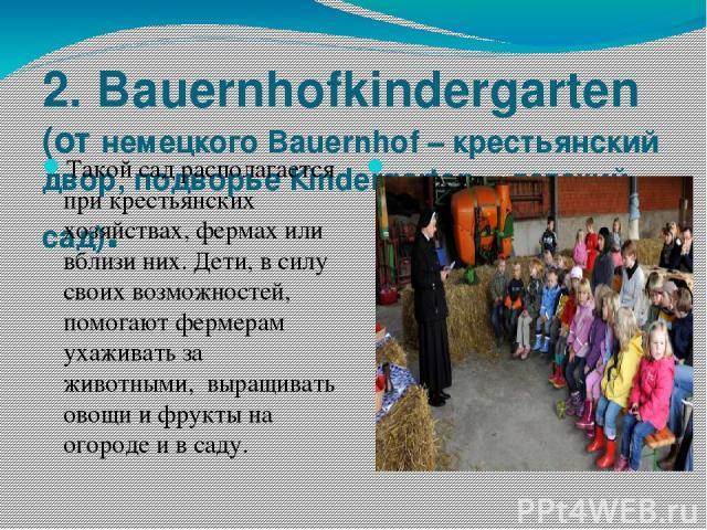 2.Bauernhofkindergarten (от немецкого Bauernhof – крестьянский двор, подворье Кindergarten – детский сад). Такой сад располагается при крестьянских хозяйствах, фермах или вблизи них. Дети, в силу своих возможностей, помогают фермерам ухаживать за ж…