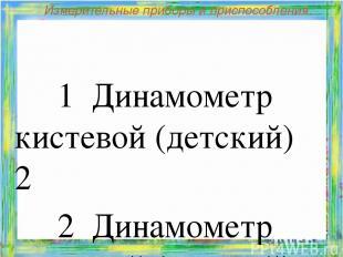 Измерительные приборы и приспособления. 1 Динамометр кистевой (детский) 2 2 Ди