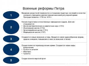 Военные реформы Петра 1 3 4 5 2 Введение рекрутской повинности в отношении подат