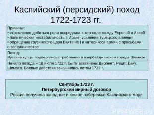 Каспийский (персидский) поход 1722-1723 гг. Причины: стремление добиться роли по
