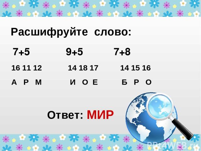 Расшифруйте слово: 7+5 9+5 7+8 16 11 12 14 18 17 14 15 16 А Р М И О Е Б Р О Ответ: МИР