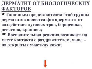 ДЕРМАТИТ ОТ БИОЛОГИЧЕСКИХ ФАКТОРОВ Типичным представителем этой группы дерматито