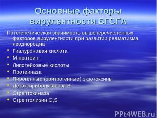 Основные факторы вирулентности БГСГА Патогенетическая значимость вышеперечисленн