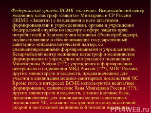 Федеральный уровень ВСМК включает: Всероссийский центр медицины катастроф «Защит