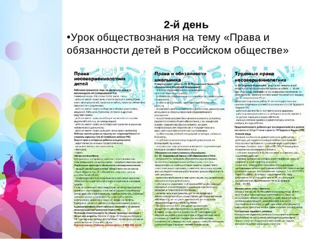 2-й день Урок обществознания на тему «Права и обязанности детей в Российскомобществе»