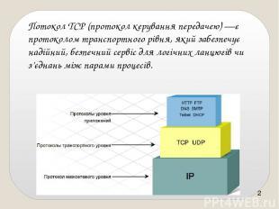 ПотоколTCP(протокол керування передачею)—є протоколом транспортного рівня, як