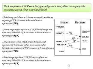 Для закінченняTCP-сесії використовується так званечотириходове рукостискання (