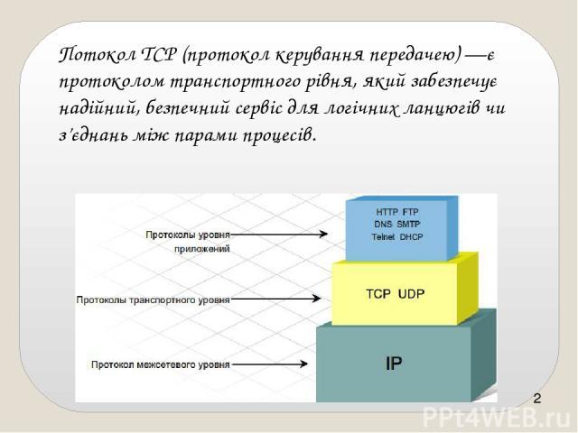 ПотоколTCP(протокол керування передачею)—є протоколом транспортного рівня, який забезпечує надійний, безпечний сервіс для логічних ланцюгів чи з'єднань між парами процесів.