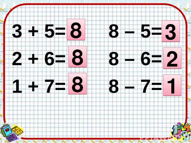 3 + 5= 8 – 5= 2 + 6= 8 – 6= 1 + 7= 8 – 7= 8 8 8 3 2 1