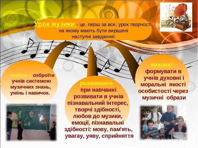освітні – озброїти учнів системою музичних знань, умінь і навичок. виховні - формувати в учнів духовні і моральні якості особистості через музичні образи розвиваючі- при навчанні розвивати в учнів пізнавальний інтерес, творчі здібності, любов до муз…
