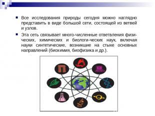 Все исследования природы сегодня можно наглядно представить в виде большой сети,
