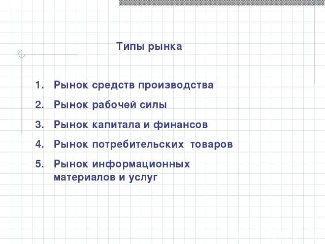 Рынок средств производства Рынок рабочей силы Рынок капитала и финансов Рынок потребительских товаров Рынок информационных материалов и услуг Типы рынка